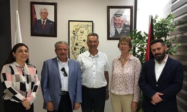(left-to-right) are Miriam Abu Ein, Bassam Rabat, Chris Greenwood, Mary Short and Moh'd Abdeen